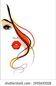 Vector handmade fashion digital sketch background with beautiful portrait young girl for design beauty salon logo