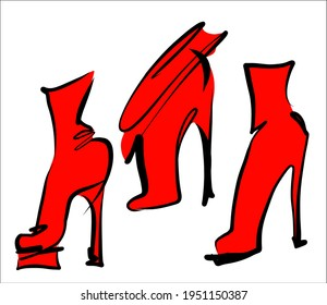 Vector handmade fashion digital sketch  set with beautiful shoes for design logo