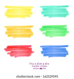 Vector  handmade marker stripes different trendy  colors. set of six design elements.
