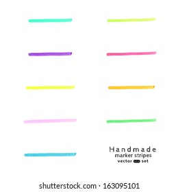 Vector  handmade marker stripes different colors. set of nine design elements