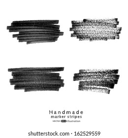 Vector handmade marker stripes set. Set of four black grunge design elements