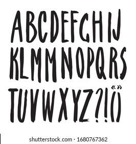Vector handmade Roman alphabet - freehand drawn font. Modern calligraphy