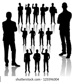 Vector handmade silhouettes of business people in different poses