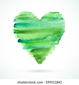 Vector handmade watercolor heart. Valentine's day. Abstract texture. Green artistic heart.