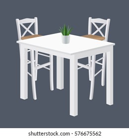 Vector handmade wooden white traditional Greek tavern table set isolated on grey background