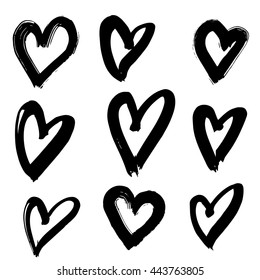 Vector hand-painted ink illustration with hearts. Abstract background. Doodles.