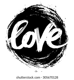 Vector hand-painted ink illustration with Love lettering.
