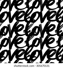 Vector hand-painted seamless pattern with ink Love lettering. Abstract background.