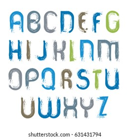 Vector hand-painted vivid capital letters isolated on white background, unusual uppercase art script, handwritten acrylic font.