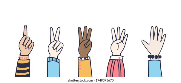Vector Hands counting show fingers. Colorful doodle style isolated elements. Trendy hand icons. Counting on fingers. Modern line hand wrists.