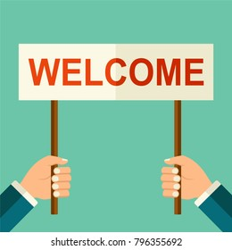"Vector hands holding banner with ""welcome"" text. Welcome to business concept. Isolated businessman hands with promotion mock up  illustration on blue background."