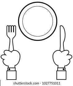 Vector hands holding fork and knife for dinner