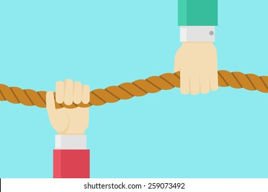 Vector hands holding on the rope. Competition or help illustration. Balance concept.