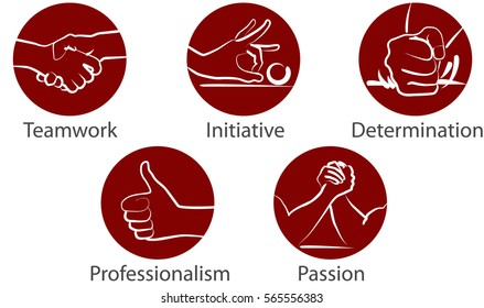 "Vector hands icon ""teamwork"" initiative"", ""determination"", ""professionalism"", ""passion"""