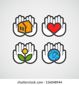 Vector hands icons with ecology