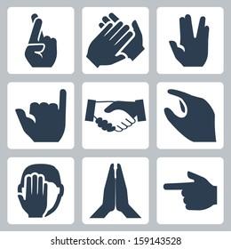 Vector hands icons set: cross fingers, applause, vulcan salute, shaka, handshake, size, facepalm, namaste, pointer
