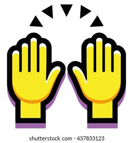 Vector Hands Up Isolated On White Background