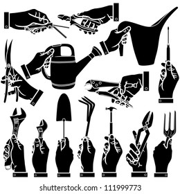 Vector hands & tool silhouettes set