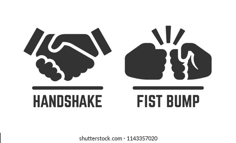 Vector handshake and fist bump icon. Partnership pictogram.