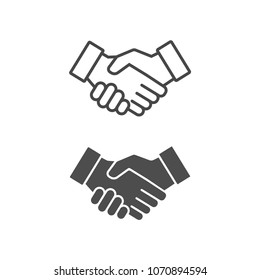 Vector handshake icon line and flat style