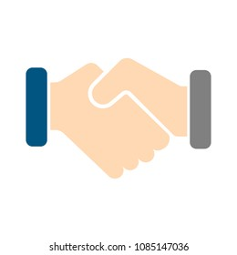 vector handshake symbol, contract icon - deal agreement. friendship, partnership or teamwork concept