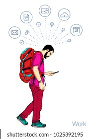 Vector handsome man with backpack and mobile phone. Travel with mobile app