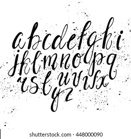 Vector hand-written alphabet. Black and white ink. cute lettering. font for invitations, greeting cards, posters, scrapbooking.