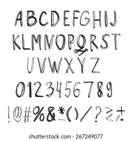 Vector Handwritten black ink alphabet with numbers and symbols.