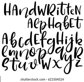 Doodle letters images stock photos vectors shutterstock vector handwritten brush alphabet isolated on white background different style of letters doodle abc thecheapjerseys Choice Image