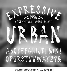 Vector handwritten brush font. White print on blurred background