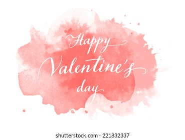 Vector handwritten calligraphy on red grungy watercolor stain background - Happy Valentine's day
