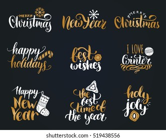 Vector handwritten Christmas and New Year calligraphy set with festive decorations: Happy Holidays, Best Wishes, The Best Time Of The Year, Holly Jolly, I Love Winter.