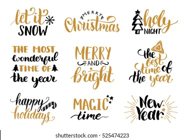 Vector handwritten Christmas and New Year calligraphy set with festive decorations.: Merry and Bright, Magic Time, Holy Night, Happy Holidays, Magic Time, Let it Snow.