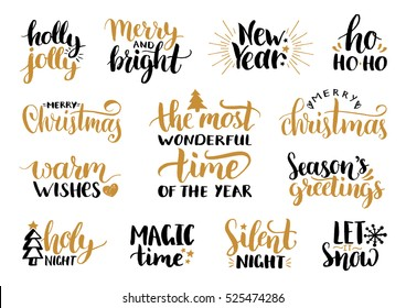 Vector handwritten Christmas and New Year calligraphy set with festive decorations: Merry and Bright, Warm Wishes, Season Greetings, Holy Night, Holly Jolly, Magic Time, Let it Snow.
