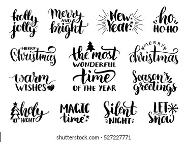 Vector handwritten Christmas and New Year calligraphy set with festive decorations: Merry and Bright, Warm Wishes, Holy Night, Holly Jolly, Magic Time, Let it Snow.