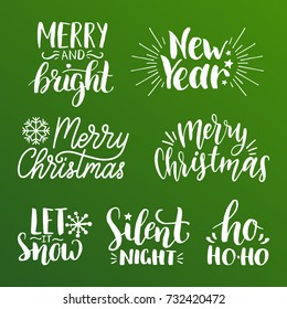 Vector handwritten Christmas and New Year calligraphy set of Merry and Bright, Let it Snow, Silent Night etc.