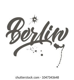 "Vector handwritten lettering ""Berlin"" for cards, posters, prints."