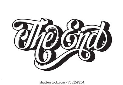 "Vector handwritten lettering "" The end"" made in vintage style. Template for card, banner, print for t-shirt."