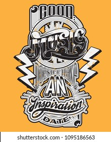 Vector handwritten lettering made in 90's style with lightning. Template for card, poster, banner, label,  print for t-shirt.