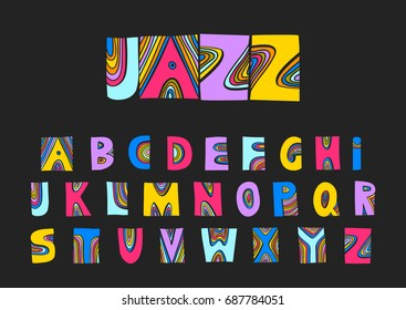 Vector handwritten uppercase artistic colorful alphabet. For design of music posters, festivals, placards, CD covers.