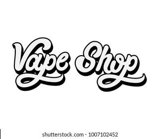 """Vector handwritten volume lettering """" Vape shop"""". Template for card, poster, banner, print for t-shirt."""