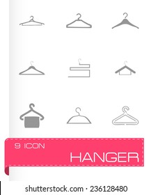 Vector hanger icons set on grey background