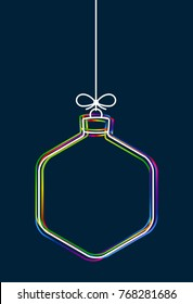 Vector hanging abstract colorful Christmas ball on a string with a bow consisting of multicolored outlines on dark blue background