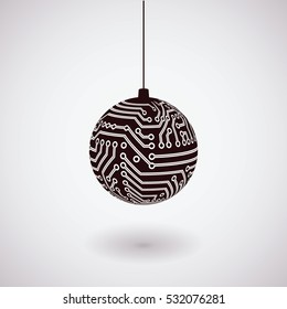 Vector hanging black Christmas ball isolated. Digital electronic circuit board decoration
