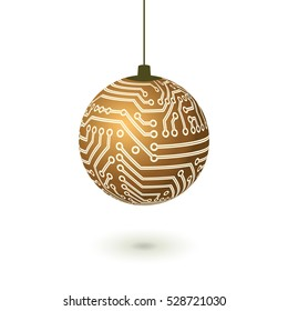 Vector hanging Christmas ball isolated. Digital electronic circuit board golden decoration.