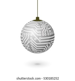 Vector hanging Christmas ball isolated. Digital electronic circuit board silver decoration