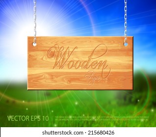 Vector hanging natural light brown wooden sign with beautiful summer calling background