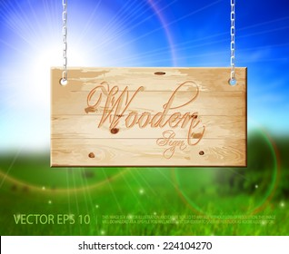 Vector hanging natural light brown wooden sign with beautiful nature background