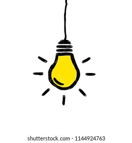 Vector hanging yellow lightbulb doodle