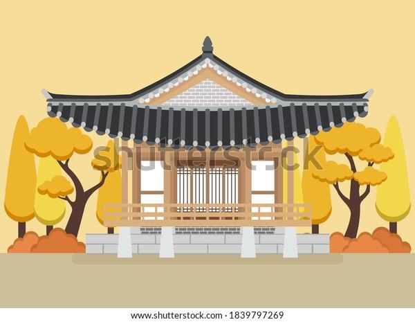 Vector of Hanok, Korean traditional house